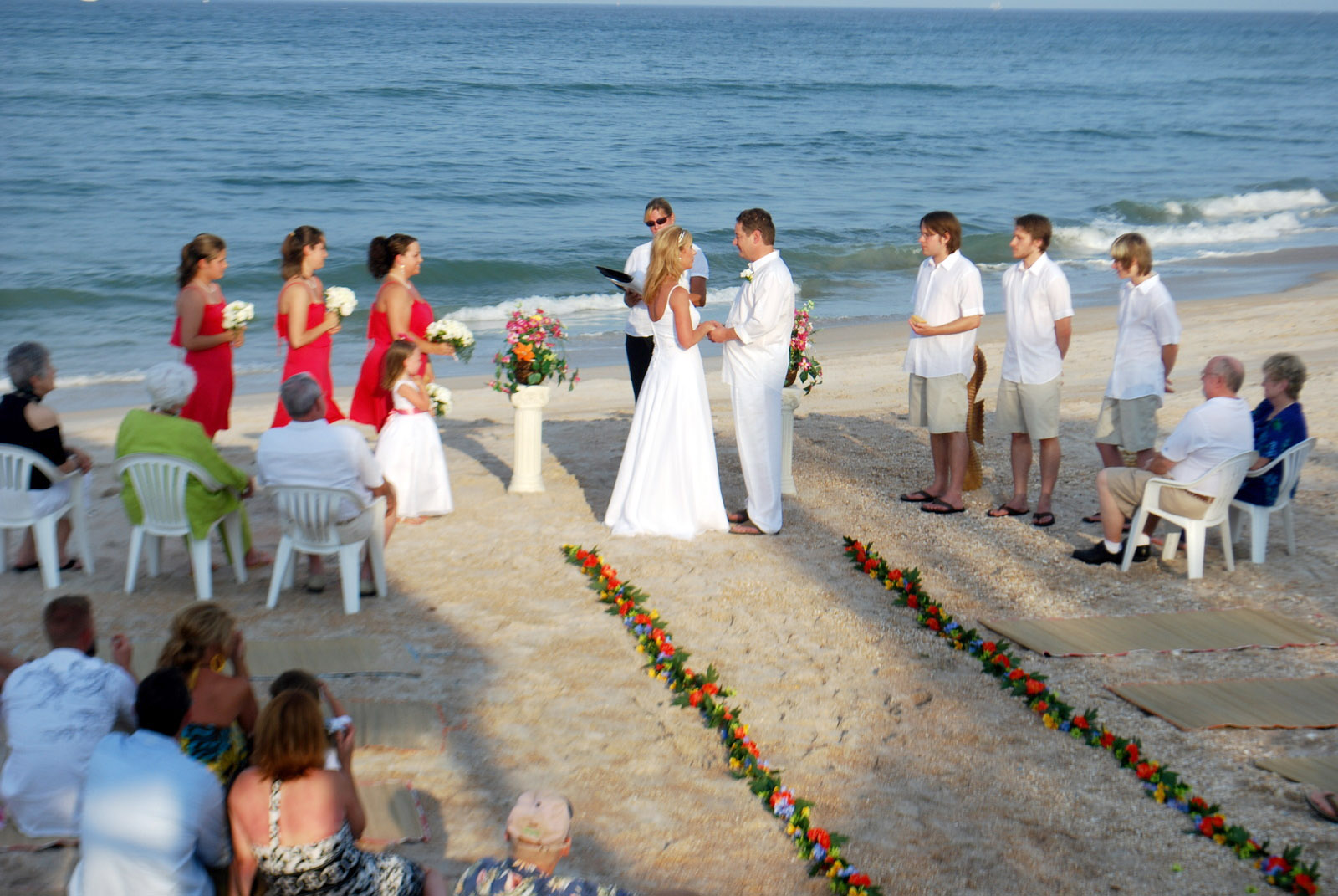 A wedding ceremony on a beach